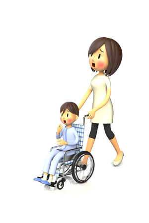 worry tension: 3D illustration of Boy get by pushing the wheelchair to his mother Stock Photo