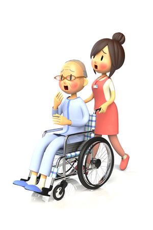 old man sitting: 3D illustration of Old man get by pushing the wheelchair to caregiver