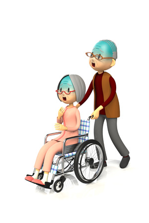asher: 3D illustration of Elderly woman get by pushing the wheelchair to her husband