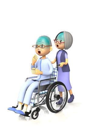 old wife: 3D illustration of Old man get by pushing the wheelchair to his wife