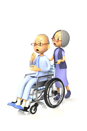 3D illustration of Old man get by pushing the wheelchair to his wife