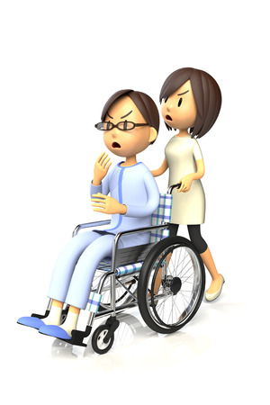 worry tension: 3D illustration of Man get by pushing the wheelchair to his wife