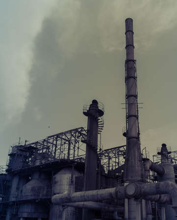 View of factory pipes
