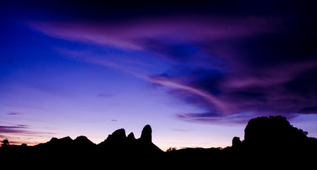 coloful: Moutain silhouete in sunset time with coloful sky Stock Photo