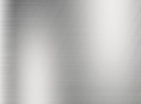 Metal zilveren achtergrond of textuur van geborsteld staal plaat met reflecties ijzeren plaat en glanzend Stockfoto