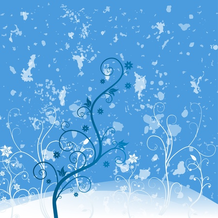 Blue grunge flower Vector
