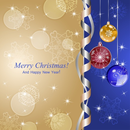 Christmas background with balls, snowflakes, serpentines and sparkles. Stock Vector - 16154789