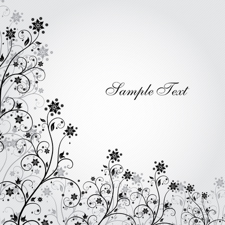 Black and white background with flowers in grunge style Illustration