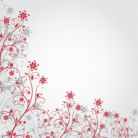 Red flower background in grunge style
