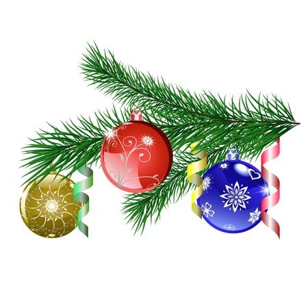 branche sapin noel: Branche d'arbre de No�l avec des boules de No�l Illustration