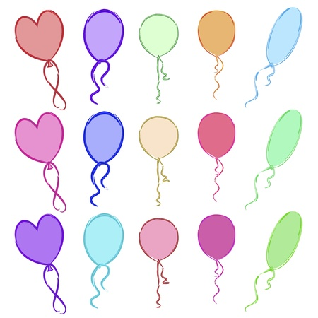 A set multicolored drawing balloons of different forms