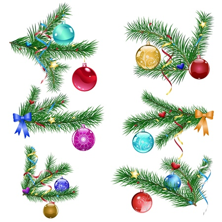 Set of Christmas tree branches with three Christmas balls and serpentine Vector