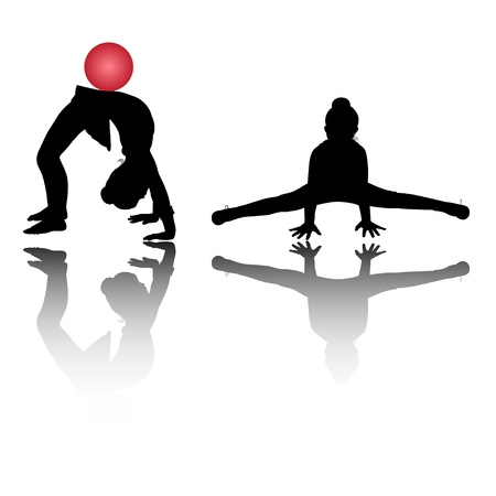 Silhouette of two girls, who is engaged in gymnastics Vector