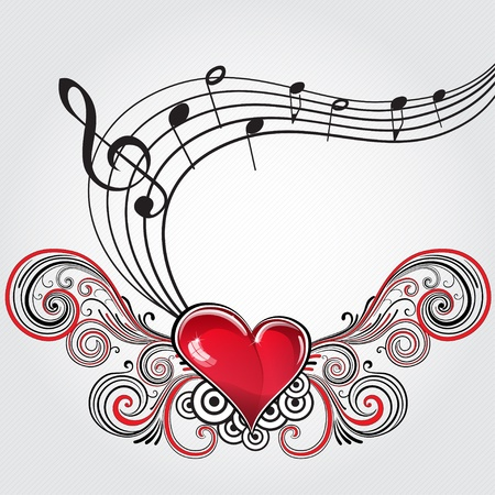 sheet music: Heart in grunge style with musical notes and treble clef