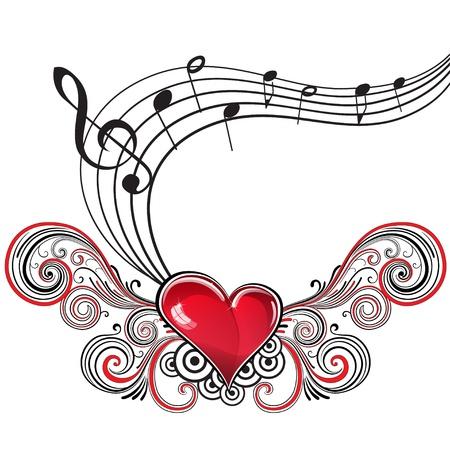 clave de sol: Corazón en el estilo grunge con notas musicales y clave de sol