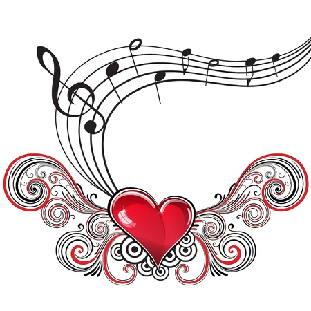 treble clef: Heart in grunge style with musical notes and treble clef