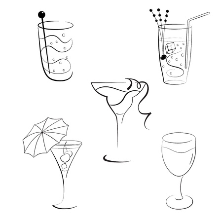 Set of wineglasses with cocktails and wines Vector