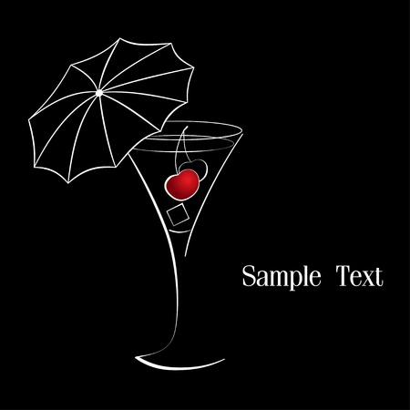 Wineglass of cocktail with cherry and umbrella Vector