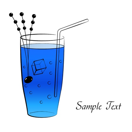 tubule: Wineglass of blue cocktail with tubule Illustration