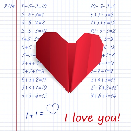 Red paper origami heart in exercise book on mathematics with the words