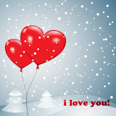 Balloons heart with snow on a background of of snowdrifts and trees Stock Vector - 17104961