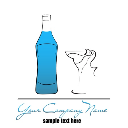 Bottle of alcoholic beverage and cocktail glass Vector