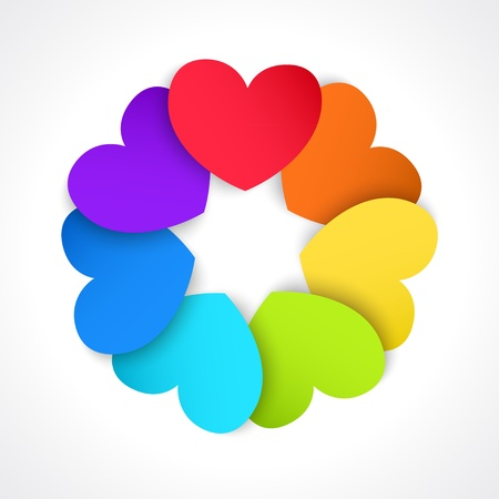 Circle of paper hearts, painted in all the colors of the rainbow Vector