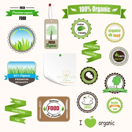 org�nico: Conjunto de etiquetas, logotipos y pegatinas en la comida org�nica y natural