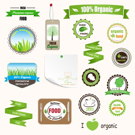 Set of labels, logos and stickers on organic and natural food Illustration