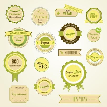 logo de comida: Conjunto de etiquetas, logotipos y pegatinas en la comida org�nica y natural