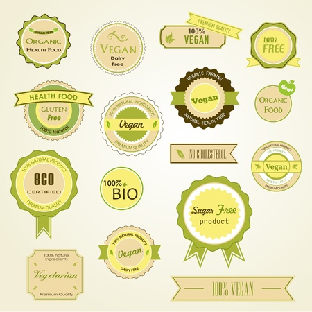 Set of labels, logos and stickers on organic and natural food Ilustração