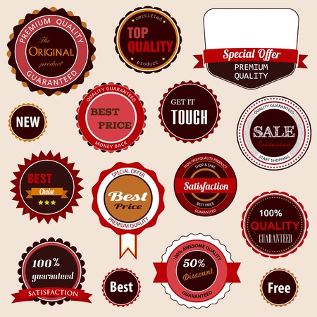 Badges, labels and stickers with various inscriptions on retail. Designed in brown colors.