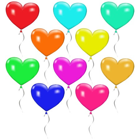 Ten multi-colored balloons in the shape of hearts with ribbons