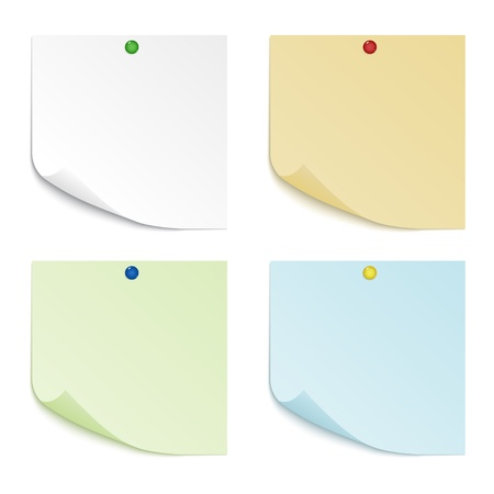A set of four sheets of paper of different colors with curved corners, pinned pushpin