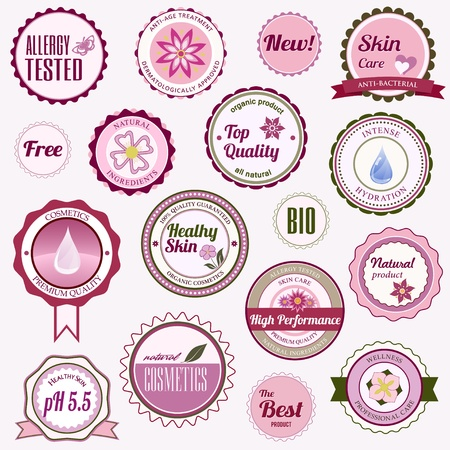 Badges, labels and stickers with various inscriptions on cosmetics Illustration