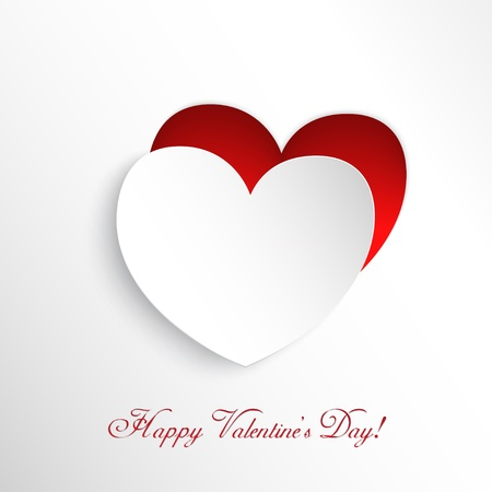 st valentine  s day: White heart cut out of paper  Congratulation to the St  Valentine s Day