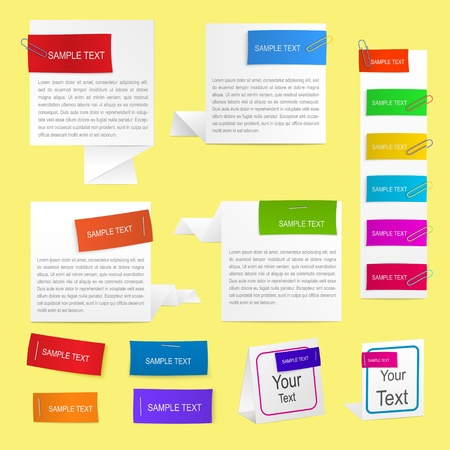 Set of paper labels in different colors, pinned to a sheet of paper with paper clips and staples Illustration