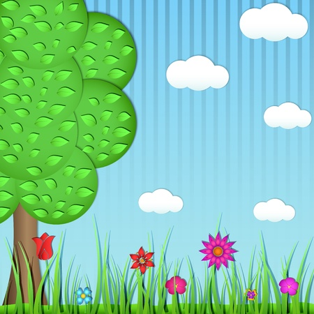 Paper tree, grass and flowers on a blue background Stock Vector - 17514568