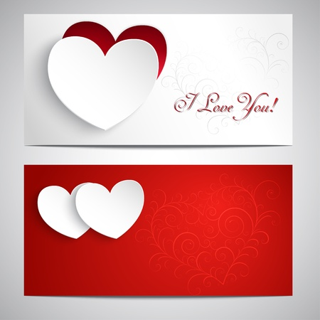 Two postcards with hearts, pattern, and the words I love you. Illustration
