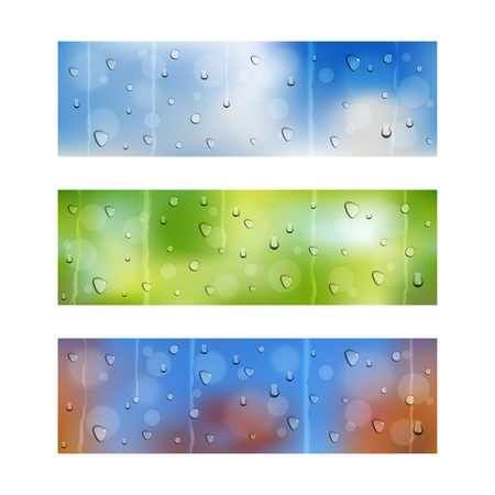 Set of three seamless banners with water drops on window glass Illustration