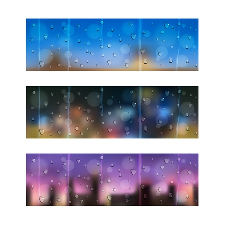 Set of three seamless banners with water drops on window glass Vector