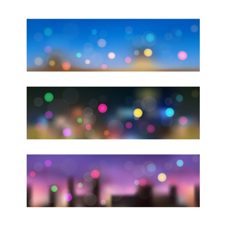 Set of three seamless banners with the views of the night city out of focus