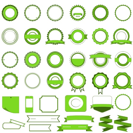Badges, labels and stickers without text on retail. Designed in green