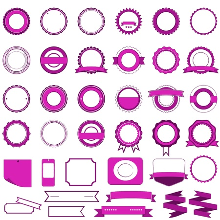 Badges, labels and stickers without text on retail. Designed in pink