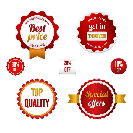Badges, labels and stickers with various inscriptions on retail. Designed in red colors. Illustration