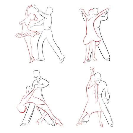 dancing couple: Four pairs of ballroom dancers in various poses. Sketches, drawn by hand.
