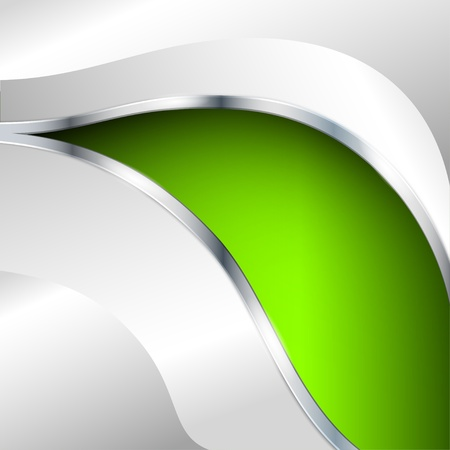 Abstract metallic background with green element Vector