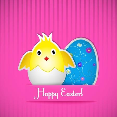 poult: Tarjeta de Pascua con el pollo y el huevo, corte de papel. Vector ilustraci�n.