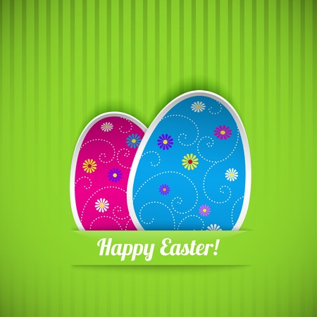 Easter card with two eggs, cut out of paper. Vector illustration.