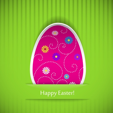 Easter card with egg, cut out of paper. Vector illustration. Stock Vector - 18221882